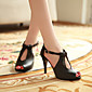 Women's Shoes PU Summer Comfort Heels Stiletto Heel Peep Toe for Casual Black Beige 3204