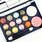 Professional 2in1 BlusherEyeshadow 12 Glitter Shimmer Color Eyeshadow2 Blush Neutral Nude Eye Shadow Cosmetic Makeup Palette Set with Brush Mirror 3204