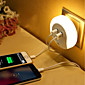 Smart Design LED Night Light with Light Sensor and Dual USB Wall Plate Charger Perfect  USB Double Charger  Adapter for Mobile Phones iPhone 7 6s 6 3204