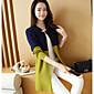 Women's Long Sleeves Loose Long Cardigan - Color Block 3204