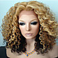 Golden Brown Ombre Kinky Curly Brazilian Human Hair Glueless Lace Front Wigs Middle Part Elegant Style 3204
