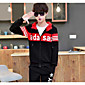 Men's Casual/Daily Hoodie Striped Letter Hooded Micro-elastic Cotton Polyester Long Sleeve Fall 3204