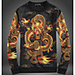 Men's Casual/Daily Simple Sweatshirt Print Round Neck Micro-elastic Silk Long Sleeve Fall 3204