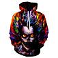 Men's Plus Size Weekend Punk  Gothic Loose Hoodie  Sweatshirt - Skull Hooded 3204