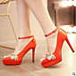 Women's Shoes PU Summer Comfort Heels Chunky Heel Closed Toe for Casual Outdoor Red 3204