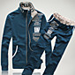 Men's Long Sleeve Slim Activewear Set - Solid Colored Stand 3204