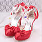 Women's Shoes Silk Spring Fall Basic Pump Comfort Heels Stiletto Heel for Wedding Casual Red 3204