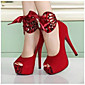 Women's Shoes Silk Summer Basic Pump Heels Stiletto Heel Peep Toe for Casual Black Red 3204