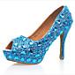 Women's Shoes Patent Leather Spring Comfort Heels Stiletto Heel Blue 3204