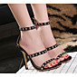 Women's Shoes PU Summer Comfort Sandals Stiletto Heel Black 3204