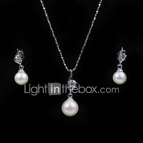 14k oro blanco blanco 7,5 - 8 mm aa FW collar de perlas y pendientes establecidas (xzz058) Descuento en Lightinthebox