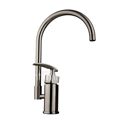 Deck mounted single handle one hole with nickel brushed for Chrome or brushed nickel kitchen faucet