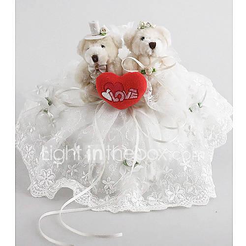 oreiller anneau de mariage en satin blanc avec ours mignon de 260539 ...