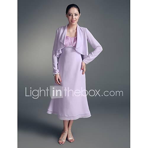 KYRA - Robe de Mère de Mariée Mousseline Satin - Châle Inclus