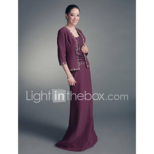 SALVIA - Robe de Mère de Mariée Mousseline Satin - Châle Inclus