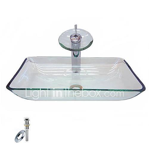 Rectangular Glass Vessel Sink : Victory Rectangular Transparent Tempered glass Vessel Sink With ...