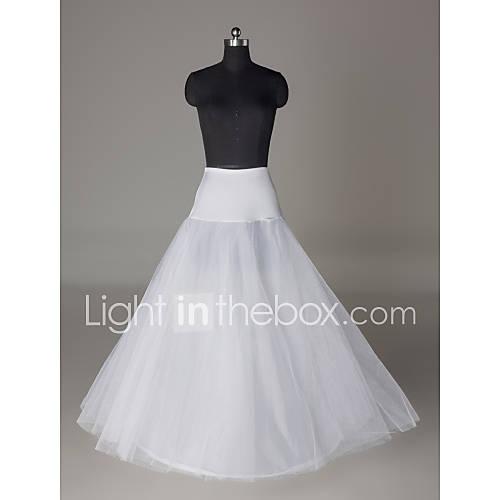 Nylon a line full gown 2 tier floor length slip style for Full length slip for wedding dress