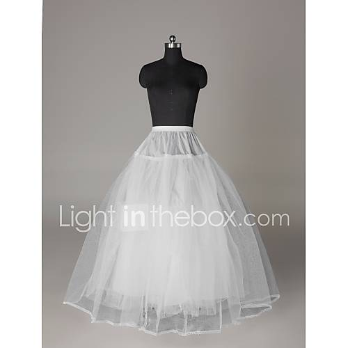 Nylon full gown ball gown 3 tier floor length slip style for Full length slip for wedding dress