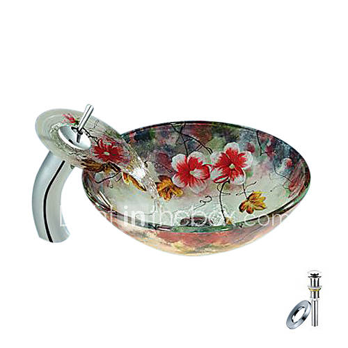 Flower Round Tempered Glass Vessel Sink With Waterfall