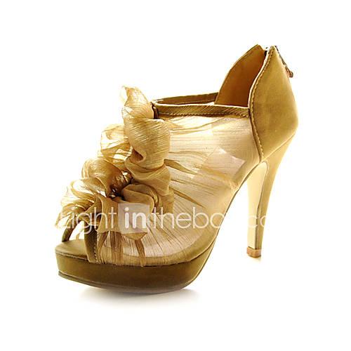 lace stiletto heel platform with ruffles wedding
