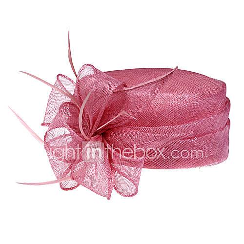 lin magnifique avec plumes mariage / lune de miel fête chapeau / (1192-005)