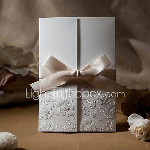 Sample Vintage Embossed Tri Fold Wedding Invitation With Ribbon Bow One Set 545652 2016 199