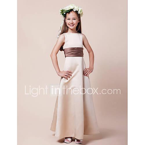 Lanting Bride Hasta el Suelo Satén Vestido de Dama de Honor Junior Corte en A / Princesa Bateau Natural con Cinta / Lazo / Fruncido Descuento en Lightinthebox