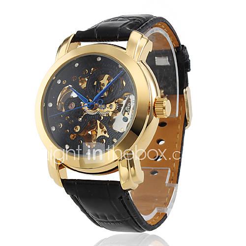 Мужская мода механический черный Кожа PU группы наручные часы с черным полый набор гравировки