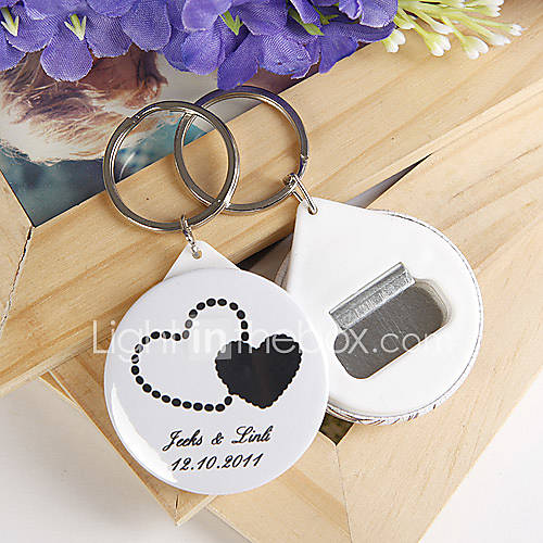 personalized bottle opener key ring double hearts set of 12 222238 2016. Black Bedroom Furniture Sets. Home Design Ideas