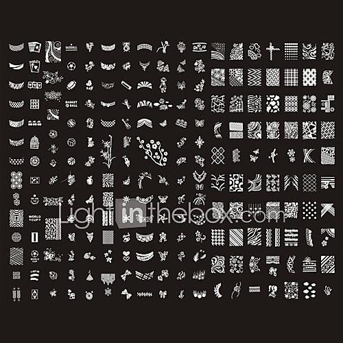 Planche d'Images Tampons/Pochoirs pour Ongles, 221 Motifs, Nail Art