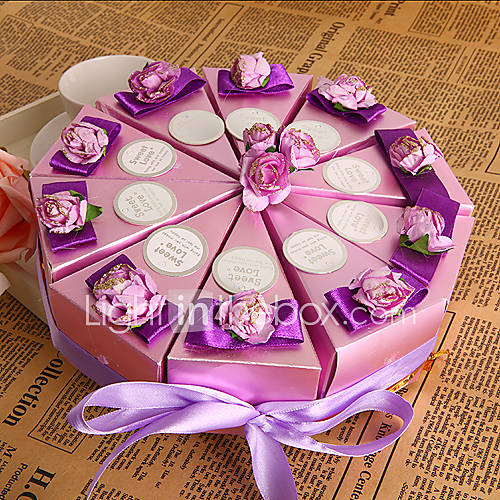 Set Of 10 Country Garden Flower Seed Wedding Favours With: Purple Flower Cake Favor Box (Set Of 10) 255547 2016