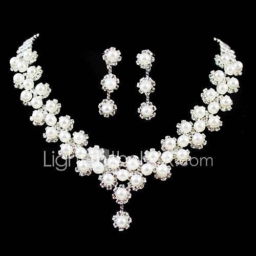 magnífico rhinestone / perla de imitación joyería nupcial conjunto - 17 pulgadas collar con aretes Descuento en Lightinthebox