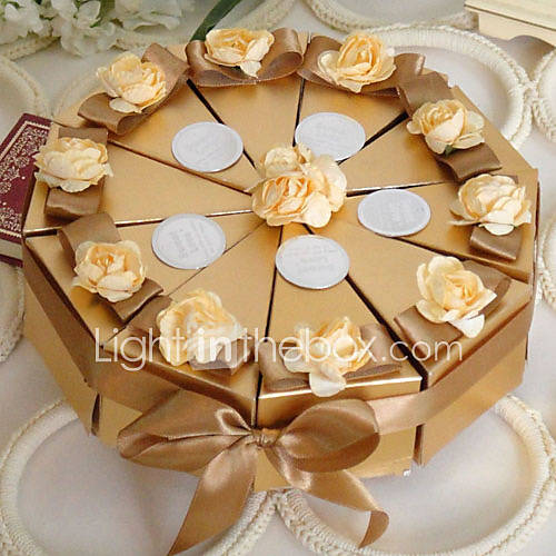gold cake favor box with flowers set of 10 277328 2017. Black Bedroom Furniture Sets. Home Design Ideas