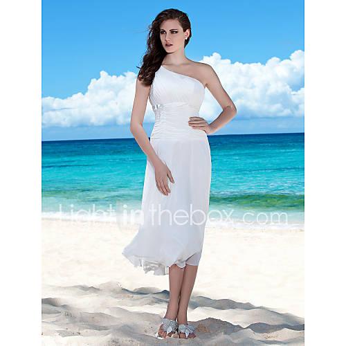 Lanting bride sheath column petite plus sizes wedding for One shoulder tea length wedding dress