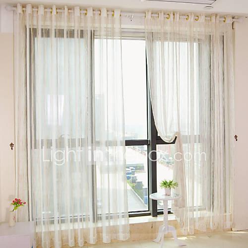 dos paneles de la raya moderna cortinas transparentes de