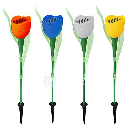 set di 4 bianco LED ricaricabile a energia solare fiore tulipano luce giardino percorso del ...
