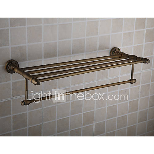 antique brass wall mounted bathroom shelf with towel bar