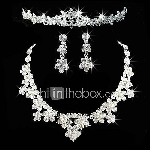 de aleación con el conjunto de joyas de diamantes de imitación de la boda elegante, incluyendo la tiara, collar, pendientes Descuento en Lightinthebox