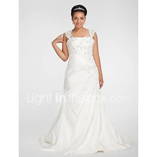 Lanting bride trumpet mermaid petite plus sizes for Fall wedding dresses plus size