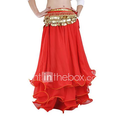 Faldas(Azul / Rojo,Gasa,Danza del Vientre / Desempeño) -Danza del Vientre / Desempeño- paraMujer Arrugas RepresentaciónPrimavera, Otoño, Descuento en Lightinthebox