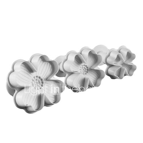 de cuatro pétalos de flor de torta y el molde cortador de galletas con émbolo (3 piezas) Descuento en Lightinthebox