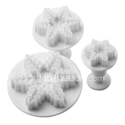 copo de nieve de la torta del molde patrón y corte las galletas con el émbolo (3 piezas) Descuento en Lightinthebox