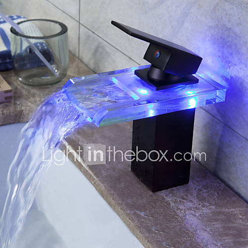Oil Rubbed Bronze Color Changing Led Waterfall Bathroom
