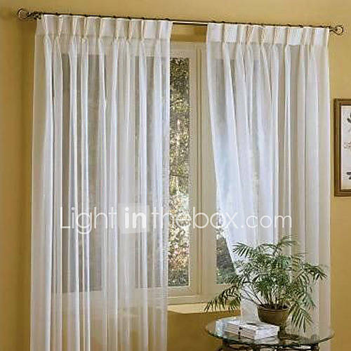 Twopages two panels linen white solid sheer curtains for Cortinas para recamara