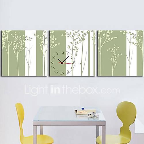 Orologio da parete moderno foresta in tela 3pcs