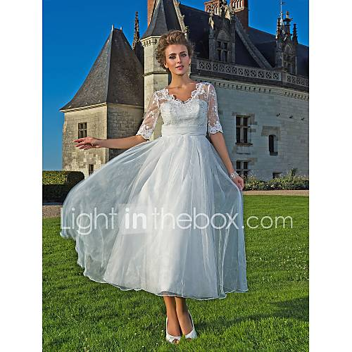 Lan ting a line princess wedding dress ivory ankle for Lace ankle length wedding dress