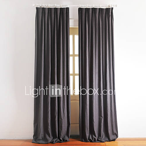 Lined Solid Linen Dark Grey Curtain Two Panels 473576 2016
