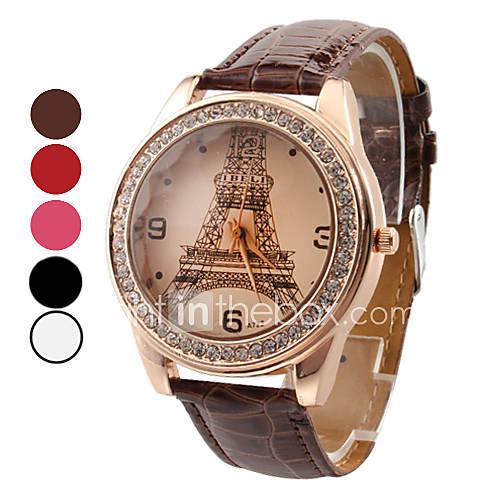 Mujer Reloj de Moda Cuarzo La imitación de diamante PU Banda Torre Eiffel / Casual Negro / Blanco / Rojo / Marrón / Rose Marca Descuento en Lightinthebox