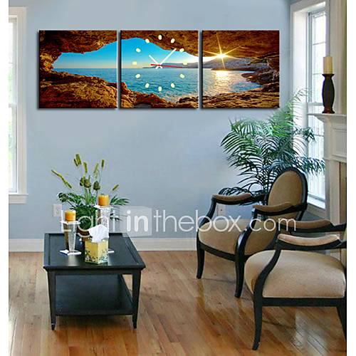 Canvas Wall Clock Design : Modern scenic wall clock in canvas set of