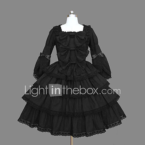 Long Sleeve Knielanger Black Cotton Classic Lolita Kleid